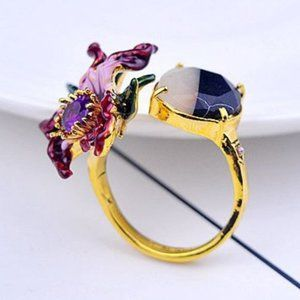 Les Nereides Purple Flower&Stone Adjustable Ring